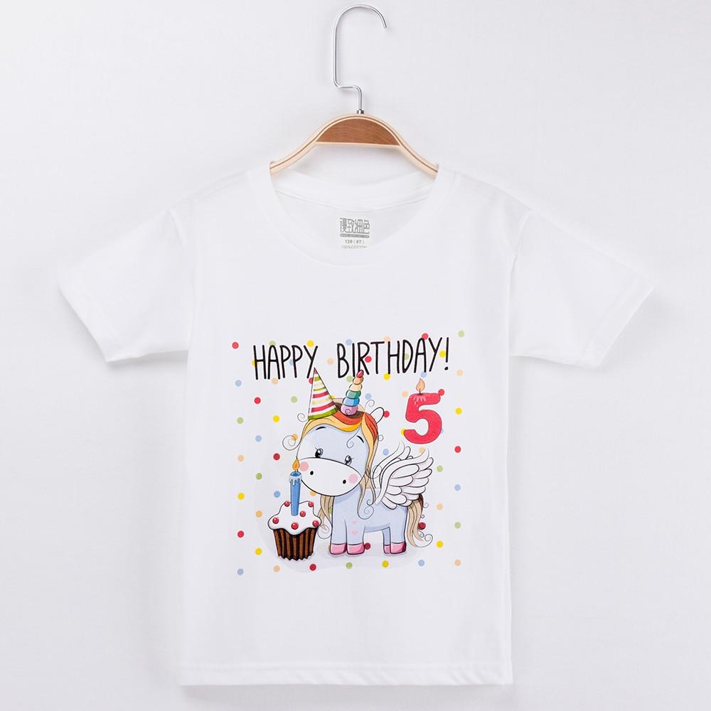 2018 Kids Clothes Girls T-shirt Happy Birthday Kawaii Unicorn 100% Cotton Short Sleeve Children Clothing Boys Tshirts Baby Tees mens casual 3d personality skull printing short sleeve t shirt cotton sport black tees