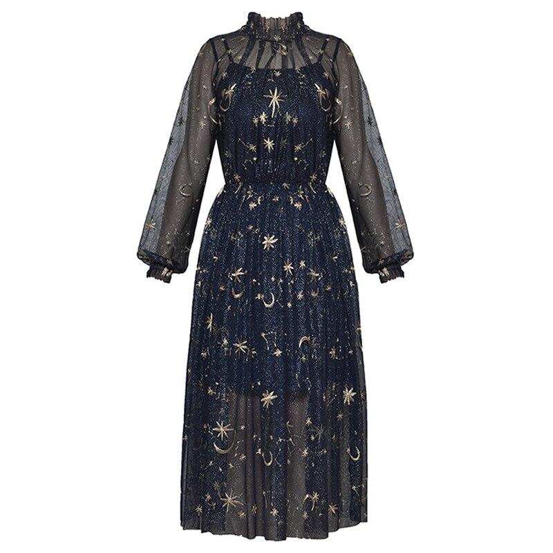 golden stars moon Milky Way embroidery mesh womens blue dress woman sexy see through runway dress