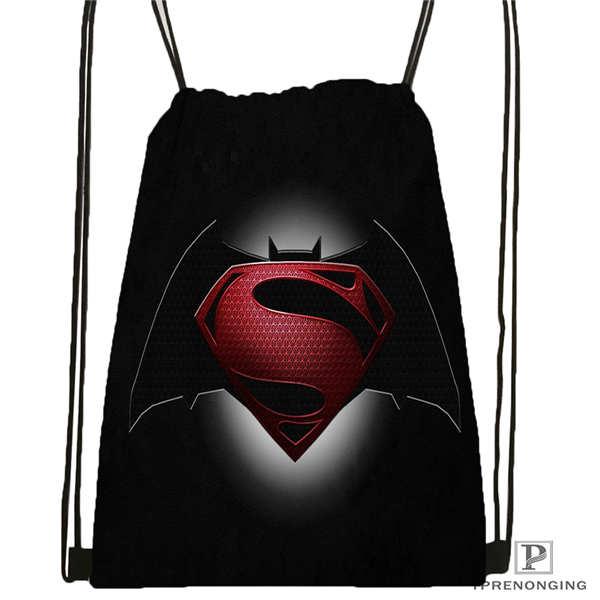 Custom Batman-Vs-Superman  Drawstring Backpack Bag Cute Daypack Kids Satchel (Black Back) 31x40cm#2018611-2(19)