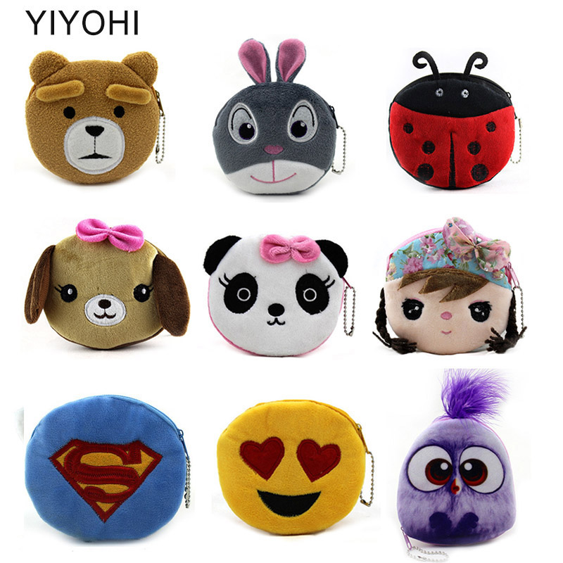34 Styles Hot On Sale Kawaii Cartoon Panda/Bear/Bird Children Plush Coin Purse Zip Change Purse Wallet Kids Girl Women For Gift