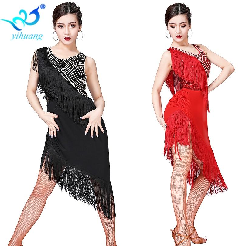 Latin Dance Dress 2019 New Women Sequin Tassel Performance Costume Women Sexy Ballroom/Tango/Cha Cha Competition Dresses