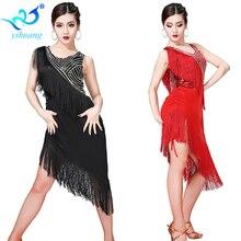 Vestido de dança latina 2019 novas mulheres lantejoulas borla desempenho traje feminino sexy salão de baile/tango/cha cha competição vestidos