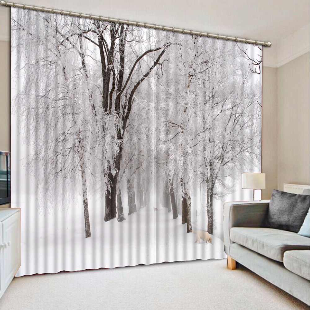 3D Curtain Birch Tree Snow Scene Curtain For Bathroom Curtains For Living Room Home Bedroom Decoration 3D Curtain Blackout