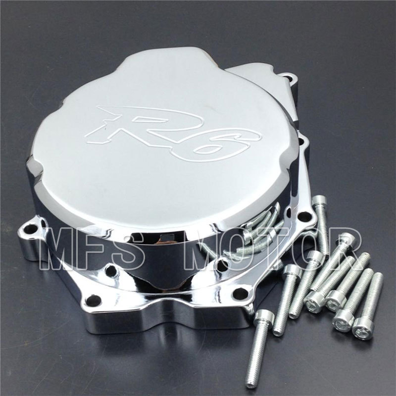 Motorcycle Part Left side Engine Stator cover For Yamaha YZF-R6 YZF R6 2006 2007 2008 2009 2010 2011 2012 2013 Motorcycle CHROME motocross dirt bike enduro off road wheel rim spoke shrouds skins covers for yamaha yzf r6 2005 2006 2007 2008 2009 2010 2011 20