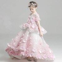 Новые роскошные детские со шлейфом одежда для свадьбы для девочек розовый ick цветок платья хороший праздничное платье принцессы высокая ко