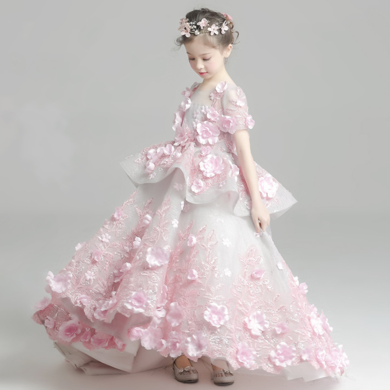 New Luxury childrens trailing wedding clothes girl pink ick flower dressess nice princess party dress high-end custom 18M06New Luxury childrens trailing wedding clothes girl pink ick flower dressess nice princess party dress high-end custom 18M06