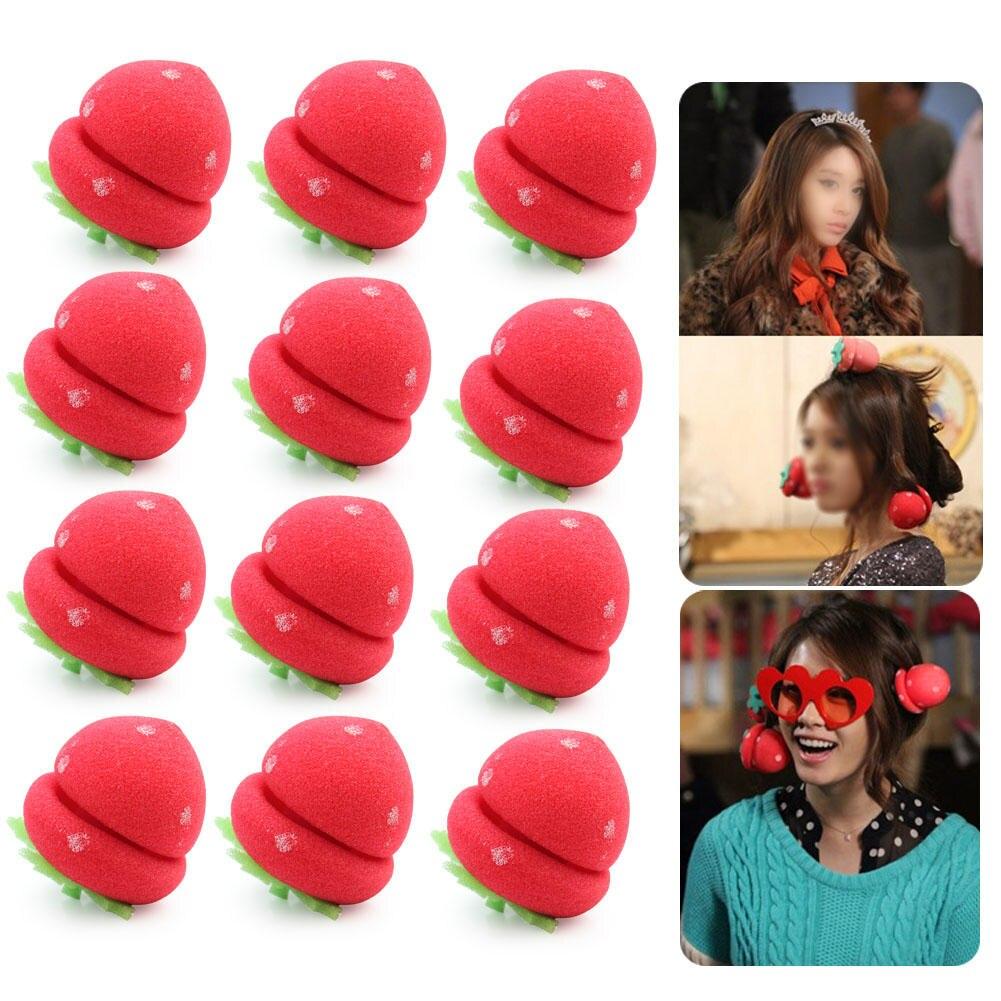 12pcs Cute Foam Strawberry Balls Soft Sponge Hair Curlers Rollers Bun Round Tool New