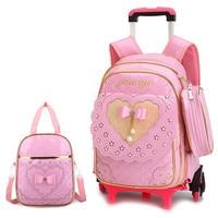 Travel luggage bags for kid Girls Trolley School backpack wheeled bag for School Trolley bag On wheels School Rolling backpacks