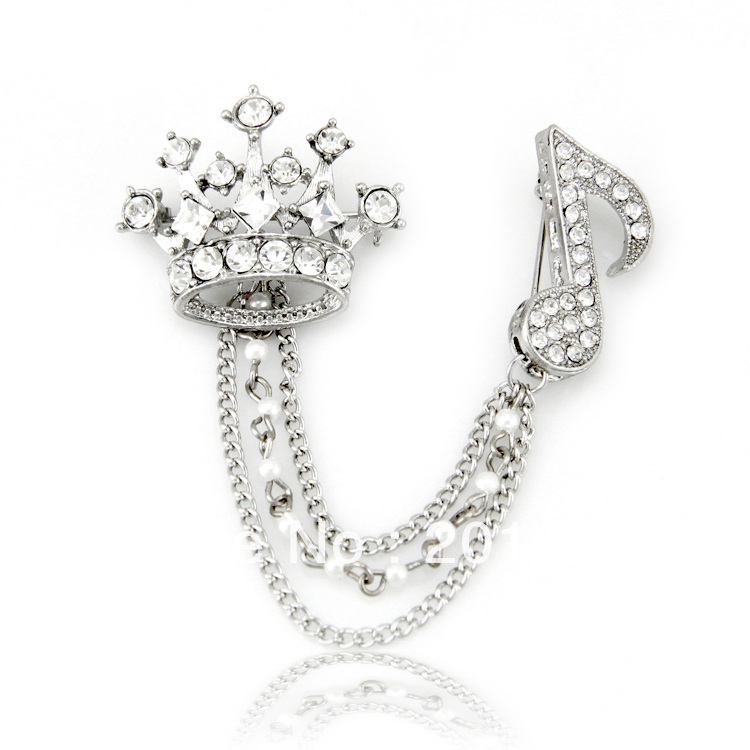 Free shipping new fashion royal imperial crown musical note rhinestone brooch men women s fashion accessories