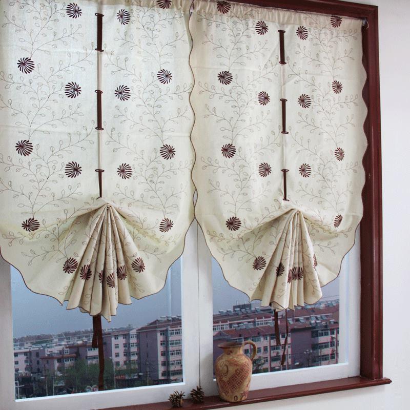 Zhh 1 Panel Embroidery Curtains Cotton Linen Vintage Roman