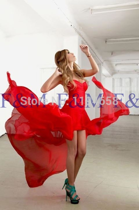 2016 Sexy Lady New Fashion Classic Sweetheart Red Chiffon Simple Luxury Floor Length Pageant font b