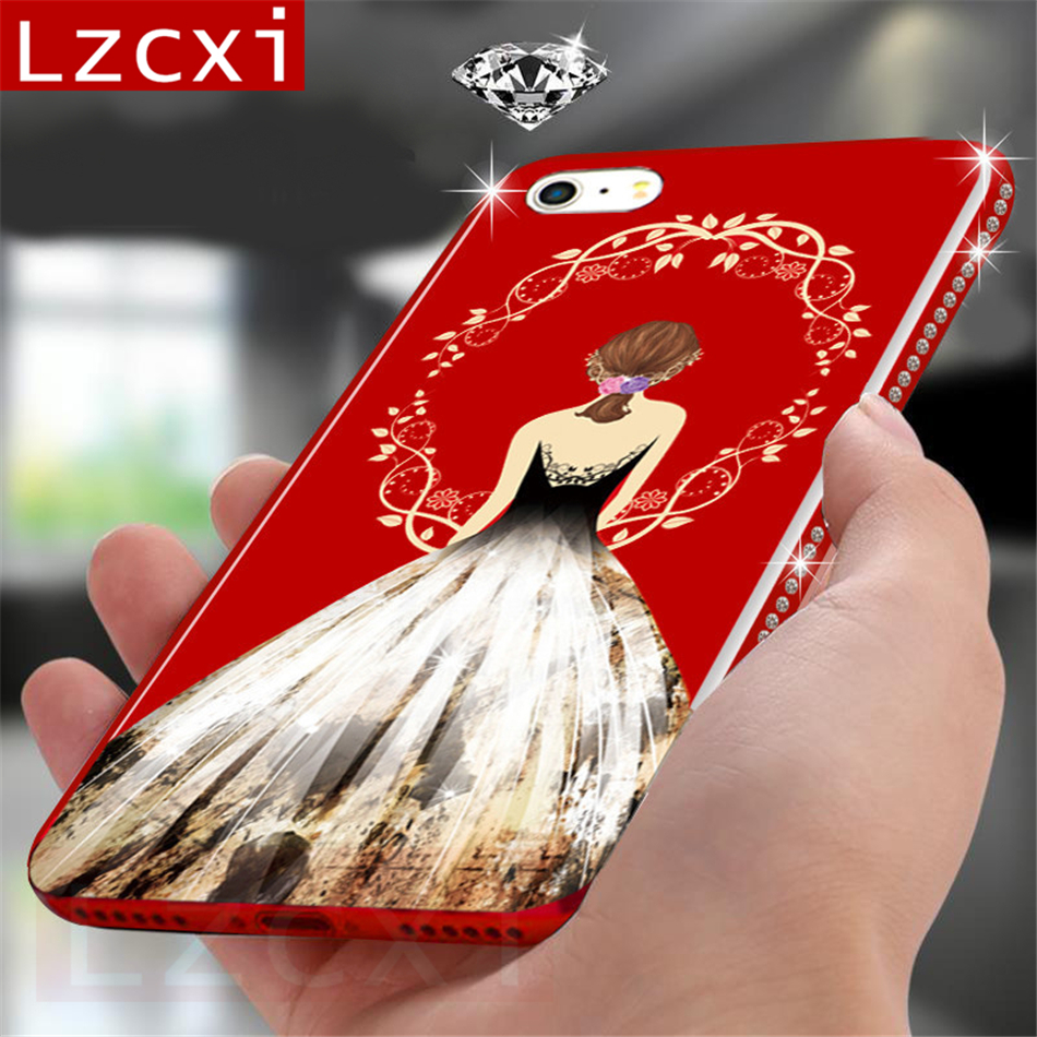 Luxury Frame Diamonds Case for iPhone 6S Case Silicone Edge Acrylic Crystal Girls Back Cover For iPhone X 6S 7 8 Plus Case Girl