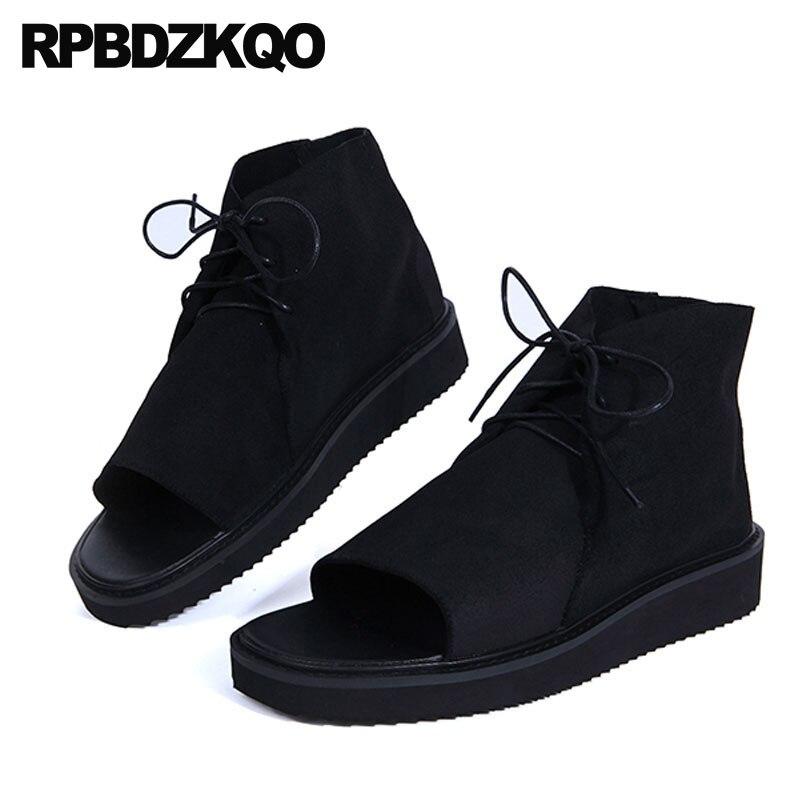 все цены на Luxury Strap Size 45 Summer Large Black Genuine Leather Open Toe Sandals Casual Designer Shoes Men High Quality Platform Boots онлайн