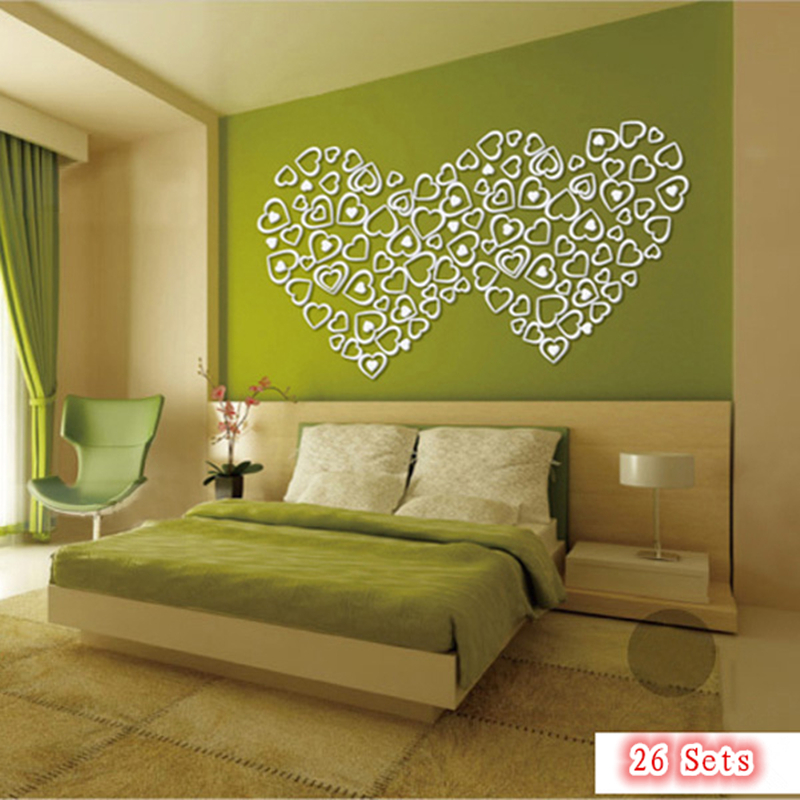 ჱ5 Pcs Creative Diy 3D Sticker Acrylic Crystal Red Heart Wall ...