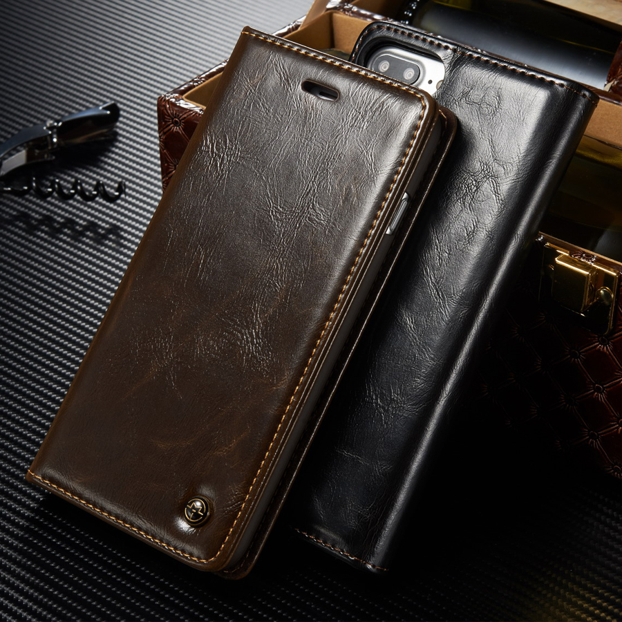 Luxury Original Brand Phone Case sFor Fundas iphone 7 case For Coque Apple iphone 7 plus High Quality Magnetic Flip Wallet Cover