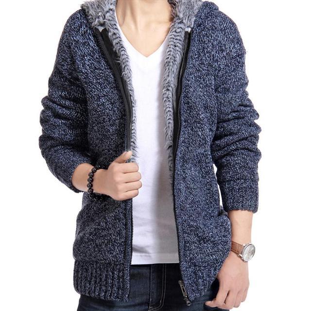 bf4490115 Jacket Men Thick Velvet Hooded Fur Jackets Men s Winter Padded ...