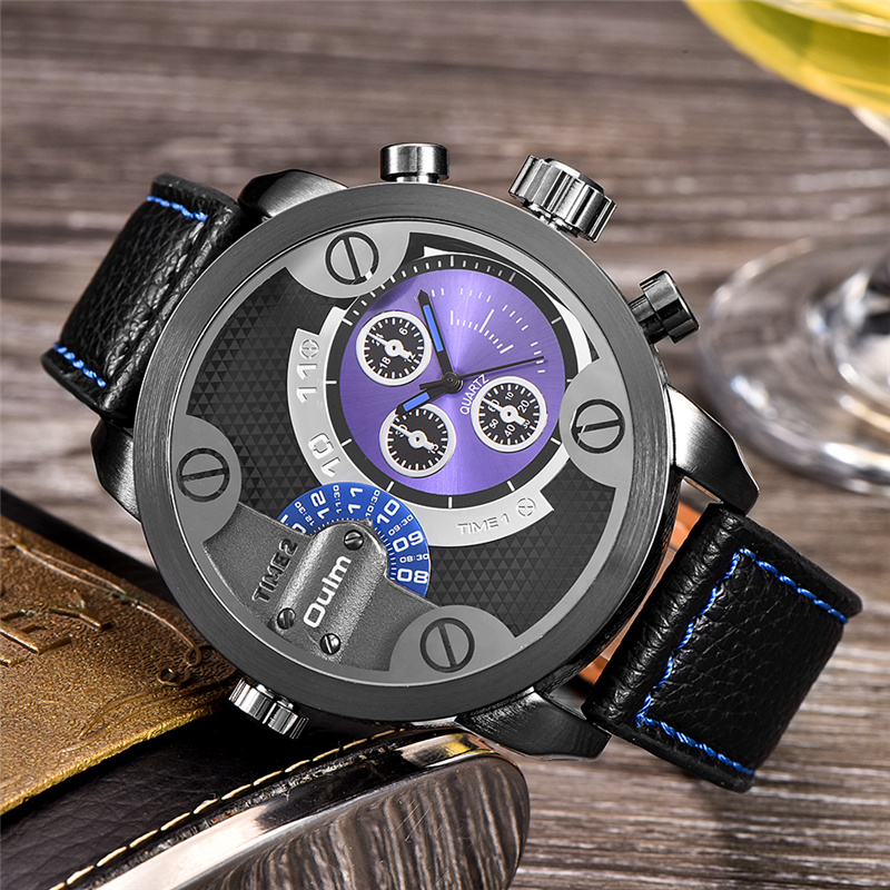 Oulm Brand Luxury Two Time Zone Men's Wrist Watches Big Size Quartz Military Watch Male Clock Casual Wristwatch reloj hombre oulm mesh mens watches top brand luxury multiple time zone men s watch male quartz outdoor sports wristwatch reloj hombre