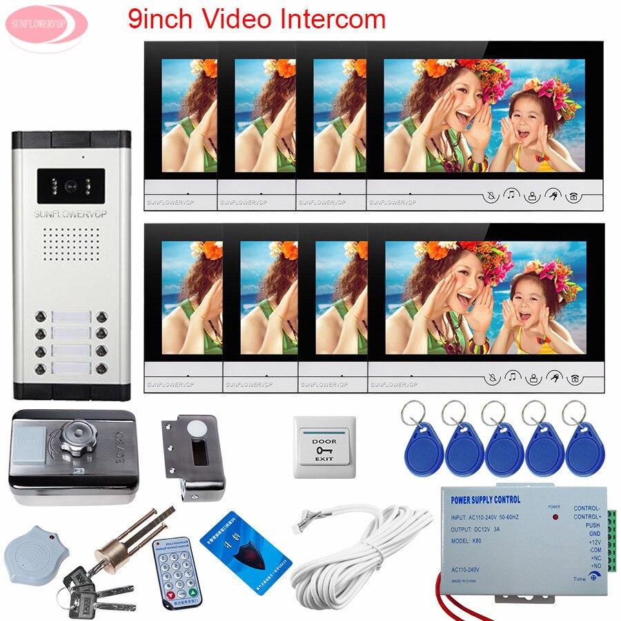 For 8 Apartments 9'' Color Video Door Phone Doorbell With Rfid Unlock Electronic Lock Outdoor Camera 8 Butttons Video Door Bell