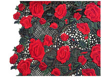 1 yard heavy embroid red rose lace fabric, crocheted fabric textile fabrics, red black floral lace dress