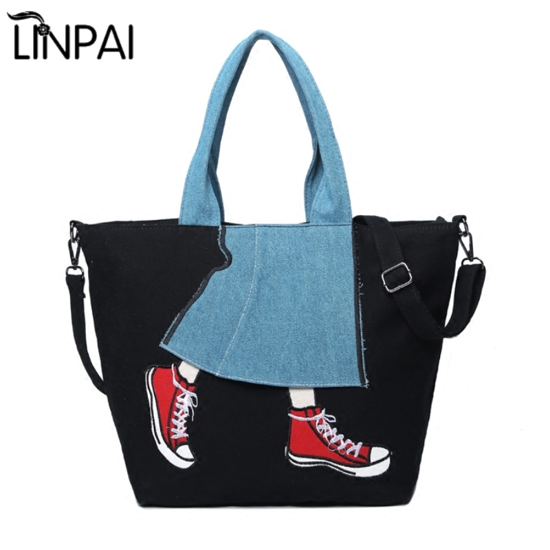 2017 New Fashion Women's Handbag Lady Canvas Shoulder Bag Female Large Capacity Leisure Bag Women Messenger Cute Girl Tote Bag