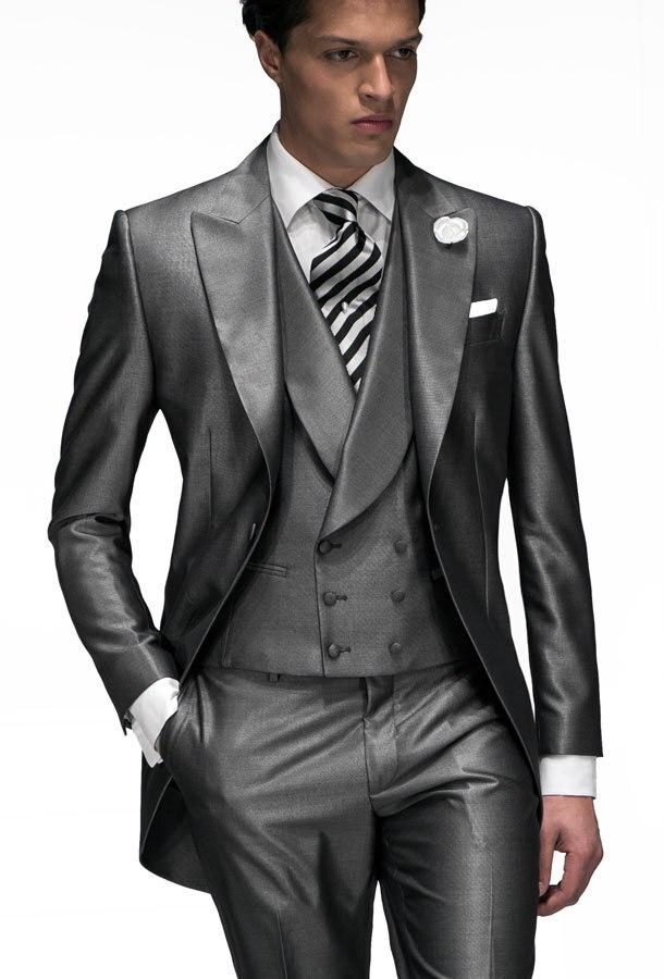 d6a539b38 وسيم رجل البدل رفقاء الذروة التلبيب العريس البدلات الرسمية رمادي شرائط  لامعة الزفاف أفضل رجل البدلة (سترة + سروال + التعادل + سترة) a76