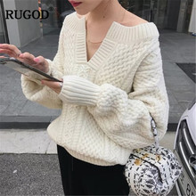 Twist Knitted  V Neck Thick Sweater