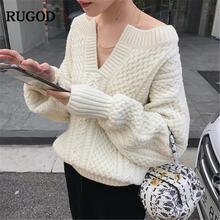 Женский вязаный свитер с v образным вырезом rugod бежевый пуловер