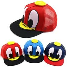 Baseball-Caps Snapback Sunscreen Summer Sun-Hat Baby Children's Cartoon Net Mesh Hip-Hop