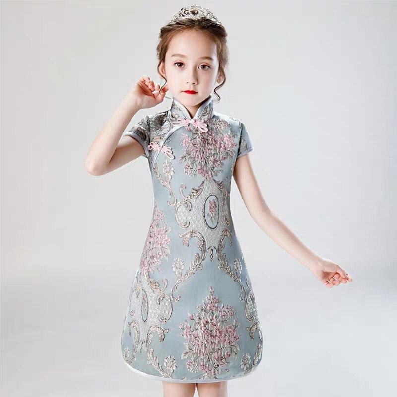 2019 bébé enfants été nouveau chinois traditionnel anniversaire soirée fête Cheongsam robe enfants infantile broderie fleurs robe
