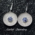 2015 CWW Brand White Gold Plated Micro Pave White And Blue Cubic Zirconia Stones Big Round Drop Earrings For Women CZ272