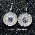 Cww марка белое золото покрытие микро-проложить белый и синий кубический цирконий камнями большой круг серьги-капельки для женщины CZ272