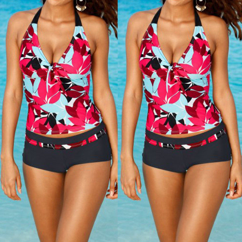 Women Floral Tankini Set Swimsuit Two-Piece Push Up Halter Bikini Bottoms Swimwear Bathing Suit Beachwear