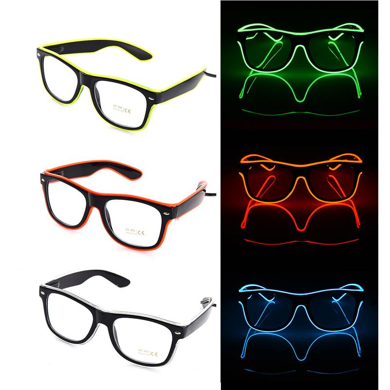 Luminous LED Glasses EL Wire Fashion Neon LED Cold Light Glasses For Dancing Party Bar Costume Party DJ Bright Glasses Props