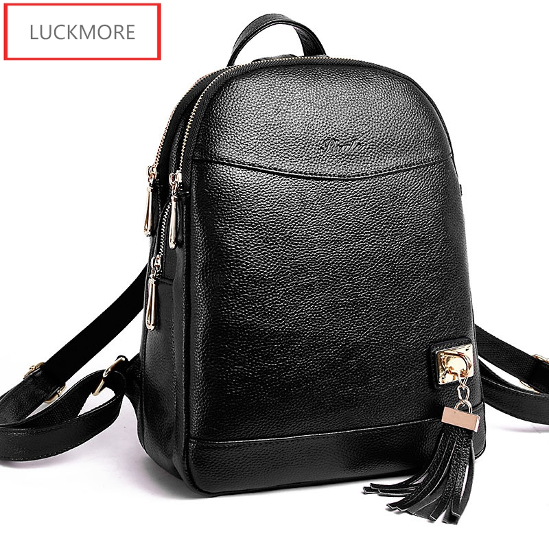genuine leather women's Bags sheepskin school bags for teenagers girls fashion brand designer ladies travel Bag women