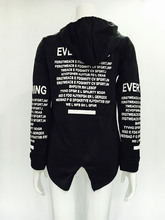 2016 Casual Autumn for Graffiti Letters Printed Zip Hoodie Coat Black Gary Ss1577