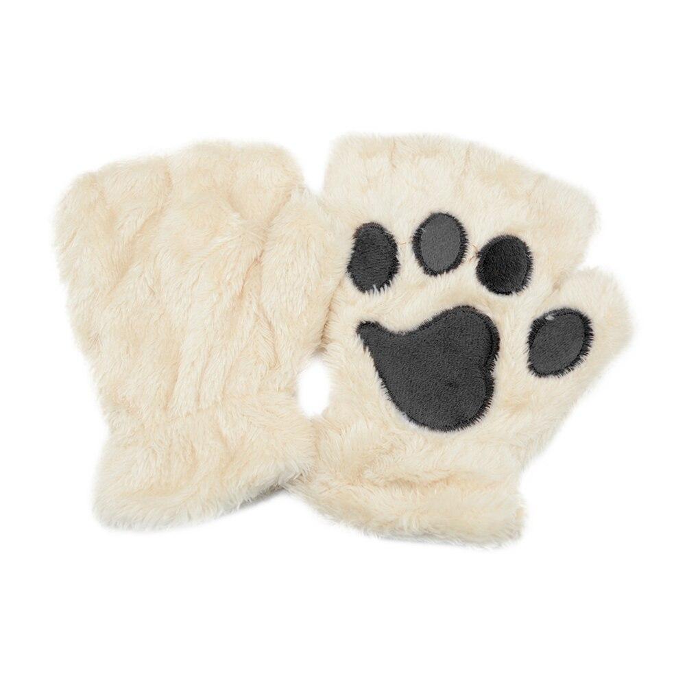 Deftig Winter Vrouwen Leuke Kat Klauw Hond Poot Pluche Wanten Korte Vingerloze Handschoenen Half Vinger Handschoenen