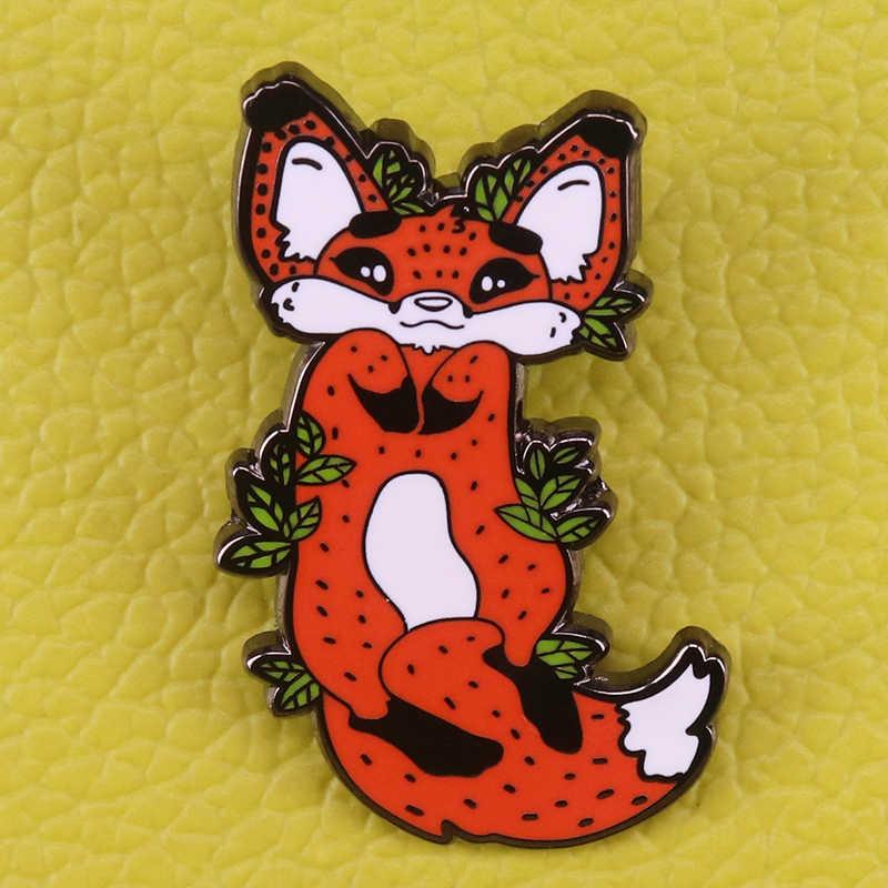 Leuke Bedelen Fox Emaille Pin Bos Dier Badges Herfst Vulpine Sieraden Creatieve Kerstcadeau Vrouwen Kids Rugzak Hoed Accessor