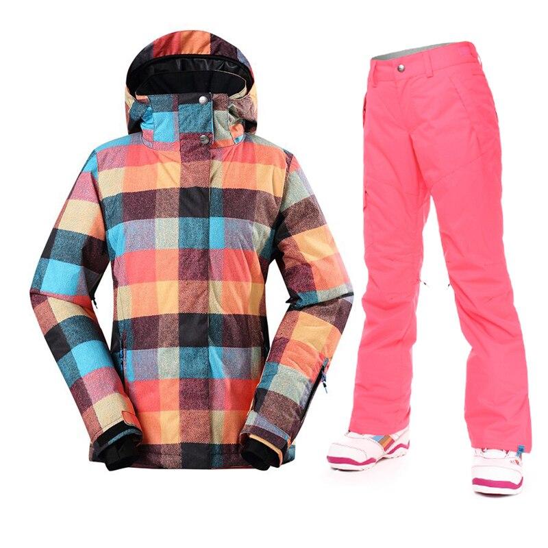 Nouveauté femmes veste de Ski hiver épaissir pantalon femme Snowboard costumes imperméable 10 K Super chaud Ski sport vêtements