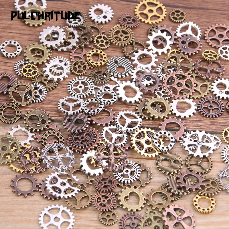 PULCHRITUDE Diy-Accessories Gears Mechanical-Steampunk Mix-Alloy Small-Size 4-Color 8-15mm