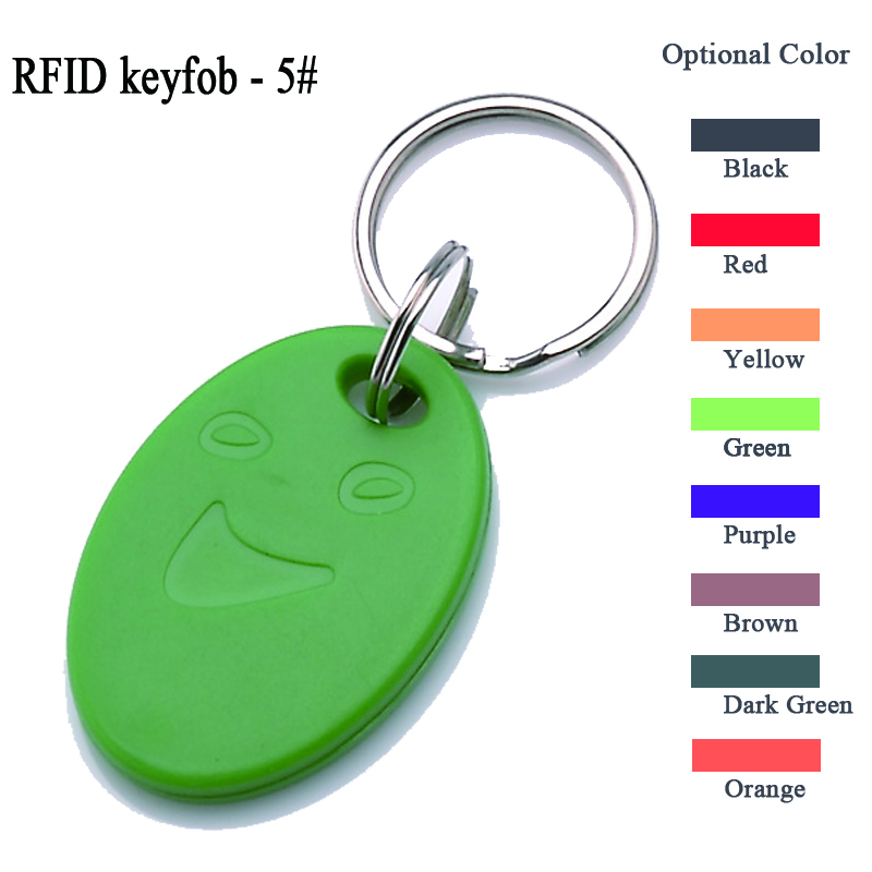 100pcs mifare s50 keyfob abs-5 model smile face f08 key tag blanks card key fob chain access control keycard read and write цена