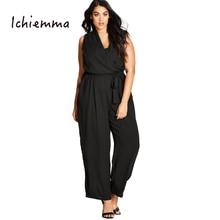 Ichiemma 2017 Plus Size Solid Black Women Jumpsuits Polo Neck Sleeveless Off Shoulder Cross Tie Casual Jumpsuits 3XL 4XL 5XL 6XL
