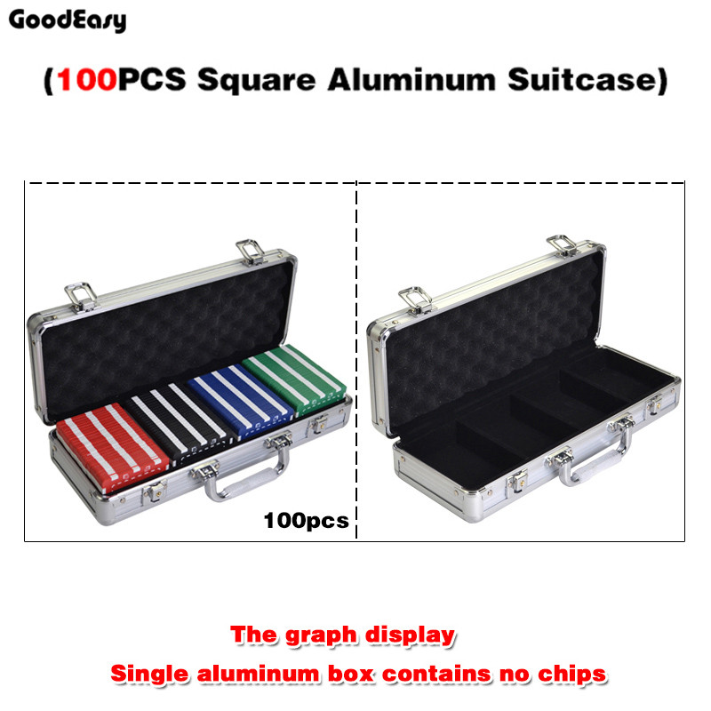 100PCS Capacity  SQUARE Chips Suitcase Chip Container Chip Case/Box Poker Chips Square Aluminum Suitcase travel aluminum blue dji mavic pro storage bag case box suitcase for drone battery remote controller accessories
