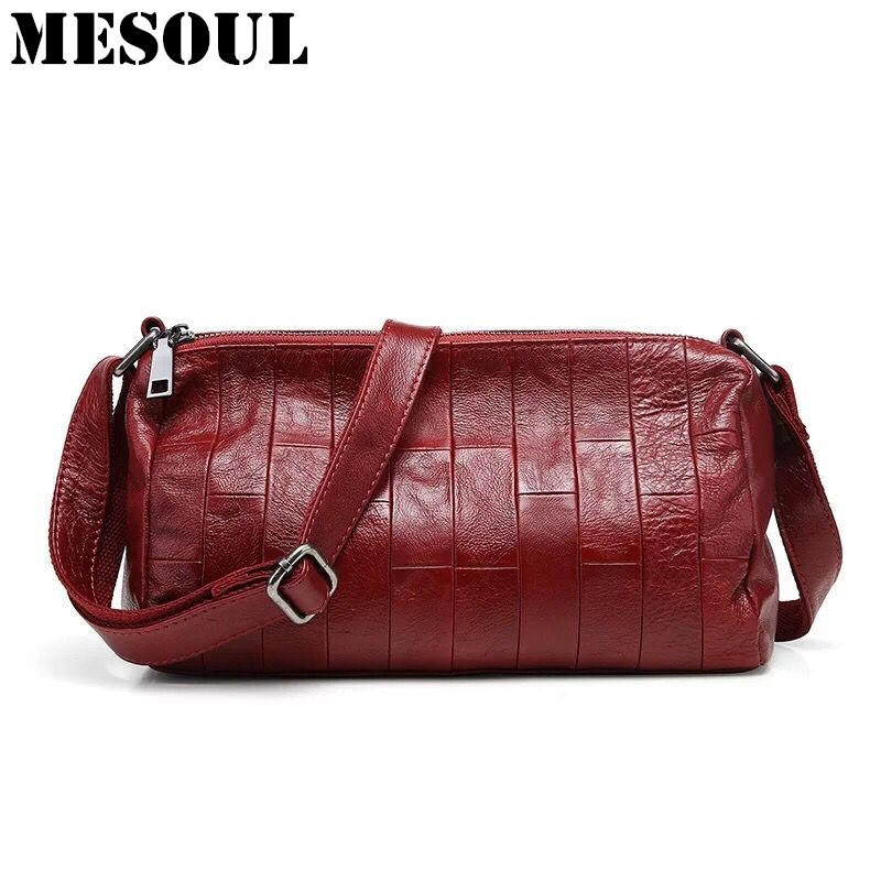 MESOUL Brand Patchwork Women Casual Shoulder Bag Female Genuine Cow Leather Small Messenger Bags Vintage Stitching Crossbody Bag