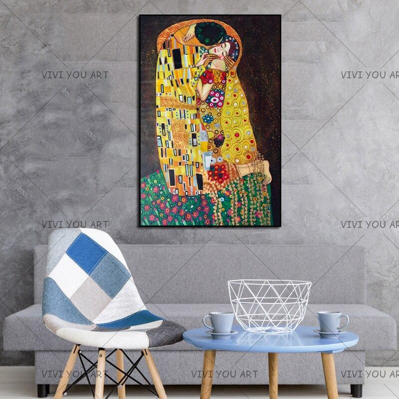 Pintura a mano reproducción oro pintura al óleo sobre lienzo arte de pared hecho a mano Gustav Klimt beso en amor artesanía decorativa - 6