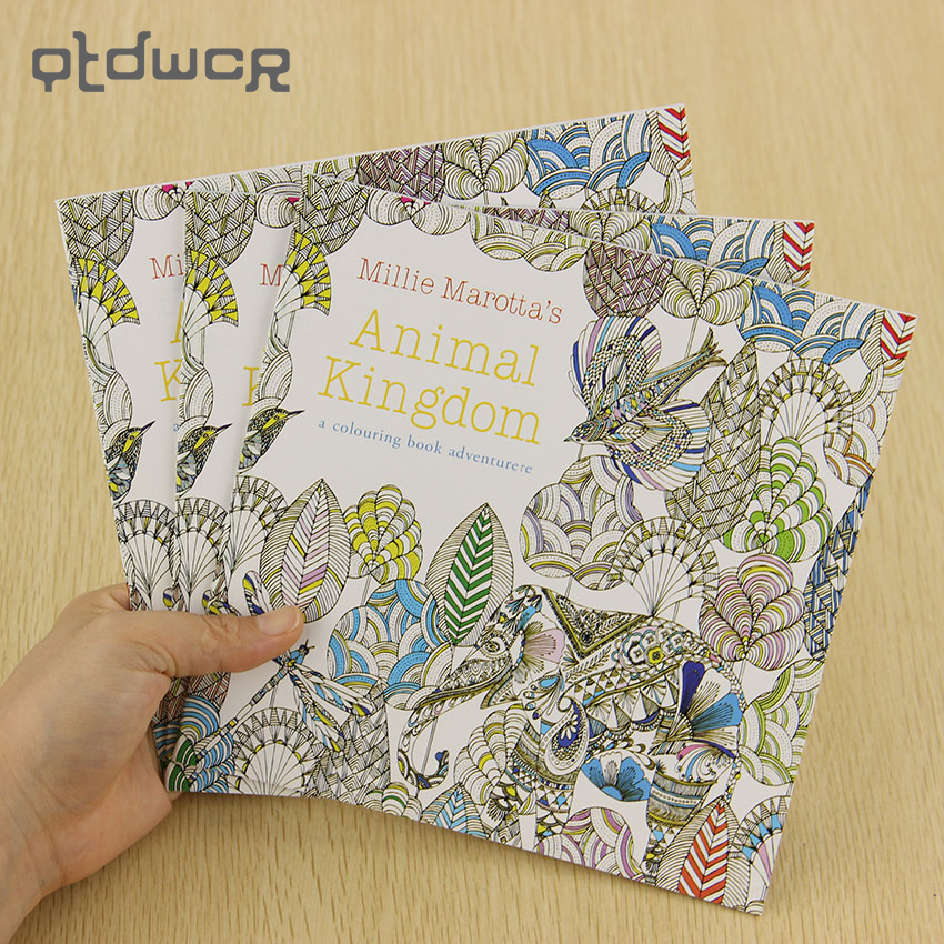 School Office Book Animal Kingdom 24 Pages Hand Painted Graffiti Coloring Books of the Relieve Stress Painting Book(China)