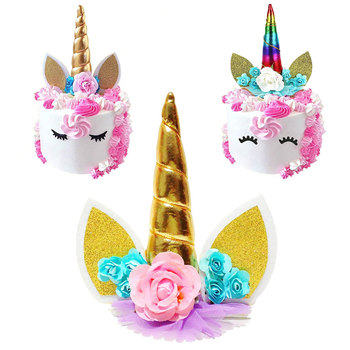 1pcs Glitter 3D Unicorn Horns Cake Topper for Kids Cake Birthday Baby Shower Unicorn Party Wedding Decoration S button