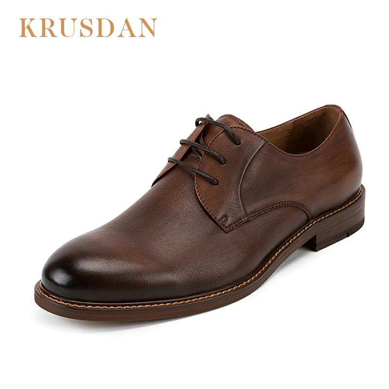 Krusdan 브랜드 빈티지 남자 신발 수제 정품 가죽 남자 신발 비즈니스 레이스 업 남자 가죽 신발 brogues 옥스포드-에서남성용 캐주얼 신발부터 신발 의  그룹 1