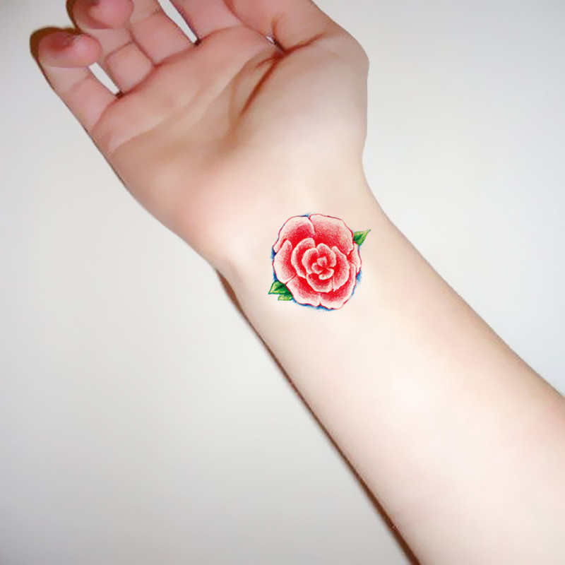 Free Shipping Tattoo Stickers Red Rose Waterproof Temporary Fake