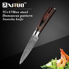 """Niedrigsten preis 3,5 """"zoll Dienstprogramm küche messer Nachahmung Japanischen Damaskus stahl Schälmesser Santoku Schälmesser geschenk Messer"""