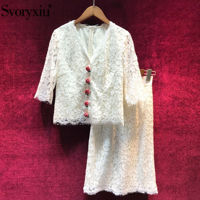 Svoryxiu Autumn Runway White Lace Skirt Suits Women's Sexy V Neck Rose Button Tops + Package Buttocks Skirts Lace Two Piece Set
